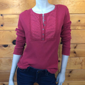 Lucky Brand NWT Red Thermal Henley Shirt